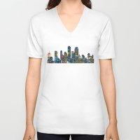 karu kara V-neck T-shirts featuring Graffiti City by Klara Acel
