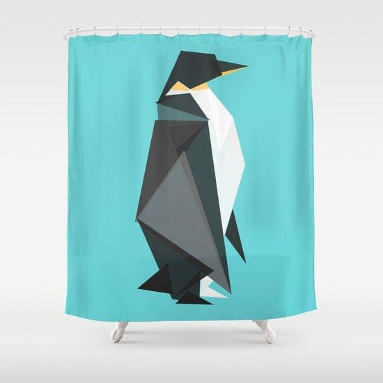 Fractal geometric emperor penguin Shower Curtain