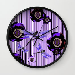 PURPLE DRAGONFLIES & BLACK POPPY FLOWERS ART Wall Clock