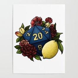 Marsala Lemon D20 Tabletop RPG Gaming Dice Poster