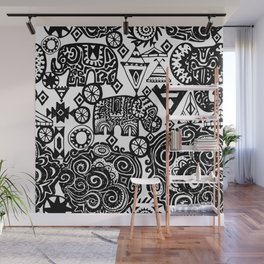 Beautiful boho pattern Indian Elephant with ornamental. Hand drawn ethnic tribal decorated Elephant Wall Mural