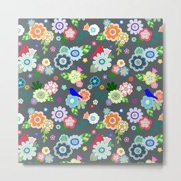 Whimsical Spring Flowers in Dark Grey Metal Print