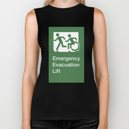 Accessible Means of Egress Icon, Emergency Evacuation Lift / Elevator Sign Biker Tank