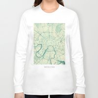 moscow Long Sleeve T-shirts featuring Moscow Map Blue Vintage by City Art Posters