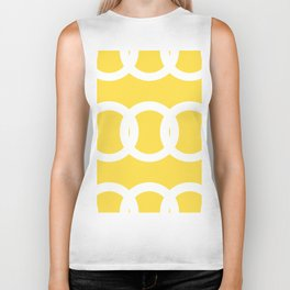 White Circles Yellow Background #decor #society6 #buyart Biker Tank