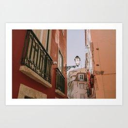 Red Corner in Lisbon Art Print