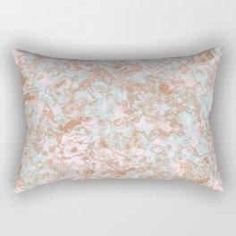 Mint Blush & Rose Gold Metallic Marble Texture Rectangular Pillow