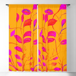 Peaches and Cream Red Leaves Blackout Curtain