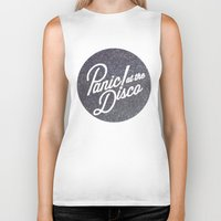 panic at the disco Biker Tanks featuring Panic! at the disco round glitter by Van de nacht