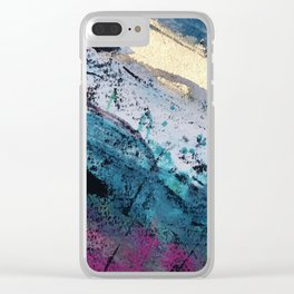 Twilight [2]: a beautiful, abstract watercolor + mixed-media piece in blue, gold, purple, + pink Clear iPhone Case