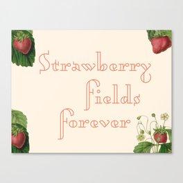 strawberry fields forever + botanical border Canvas Print