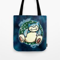 snorlax Tote Bags featuring 142 - Snorlax by Lyxy