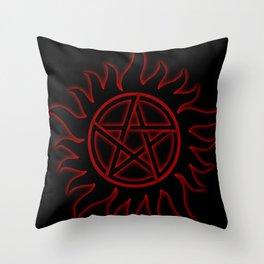 Anti Possession Sigil Red Glow Throw Pillow