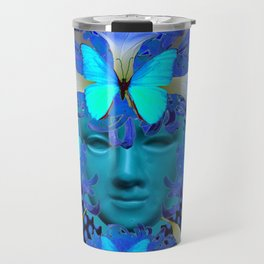 BLUE MORNING GLORIES BUTTERFLY MASQUERADE DESIGN Travel Mug