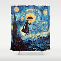 mary poppins Shower Curtains featuring mary poppins Starry Night oil painting iPhone 4 4s 5 5c 6, pillow case, mugs and tshirt by Greenlight8