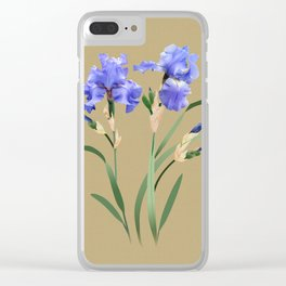 Blue Irises Clear iPhone Case