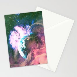 Space Earth Watercolor Stationery Cards