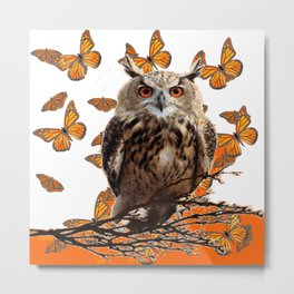 ORANGE BUTTERFLIES OWL IN TREE WHITE ART DESIGN ART Metal Print