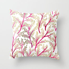 Pink & Gold Branches Throw Pillow