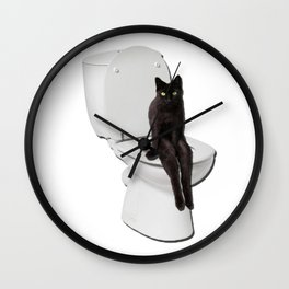 Toilet Cat Wall Clock