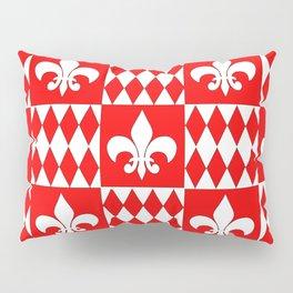 Red and white fleur de lis and diamonds checker Pillow Sham
