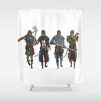 assassins creed Shower Curtains featuring Pixel Assassins by LPDuarte