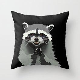 Diabolical Racoon Throw Pillow