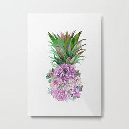 Floral Pineapple 1 Metal Print