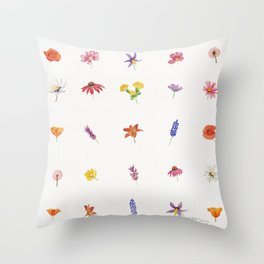 Wildflowers Pattern Watercolor  Throw Pillow