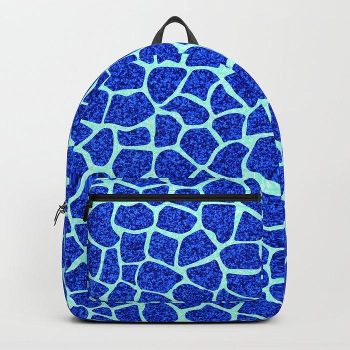 Blue Glitter Giraffe Print Backpack
