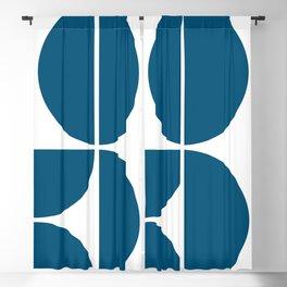 Mid Century Modern Blue Square Blackout Curtain