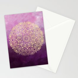 Gold mandala on maroon ink Stationery Cards