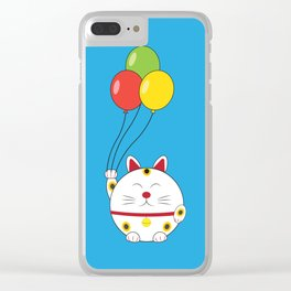 Fat Cat with Balloons Clear iPhone Case