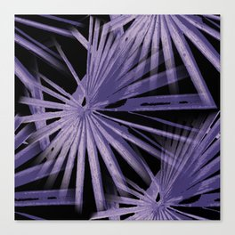 Violet On Black Tropical Vibes Beach Palmtree Vector Canvas Print
