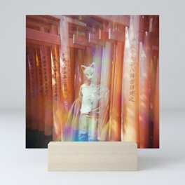 Kitsune Japanese double exposure at the Fushimi Inari Shrine Mini Art Print