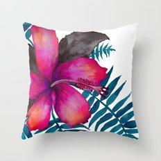 Pink Hibiscus Flower - WHITE Throw Pillow