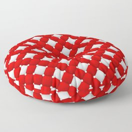Red and White Vintage Classic Leather Floor Pillow