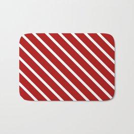 Juicy Cranberry Diagonal Stripes Bath Mat