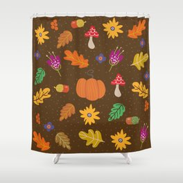 Autumn Fall Leaves Flower Pattern Shower Curtain