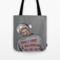 die hard Tote Bags featuring Tony (The Dead Guy In The Elevator In Die Hard) by CRUDE