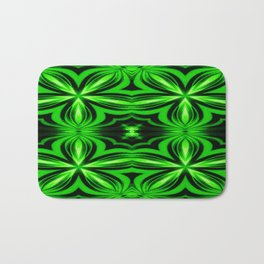 Vivid Green Electric Flower Pattern Bath Mat