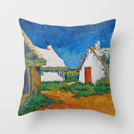 Three white cottages in Saintes-Maries by Vincent van Gogh Throw Pillow