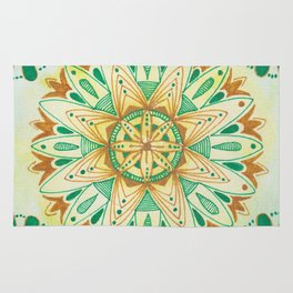 Simple Green/Yellow Mandala Rug