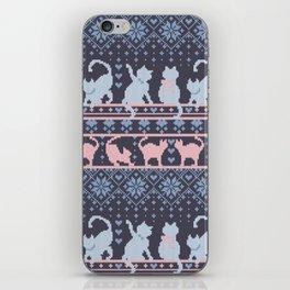 Fair Isle Knitting Cats Love // purple white and pink kitties iPhone Skin