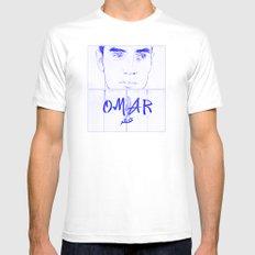 Omar (Blue Version) White MEDIUM Mens Fitted Tee