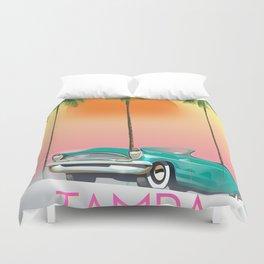 Tampa Florida Travel poster Duvet Cover