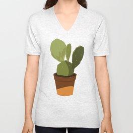 Orange Pot Cactus Unisex V-Neck