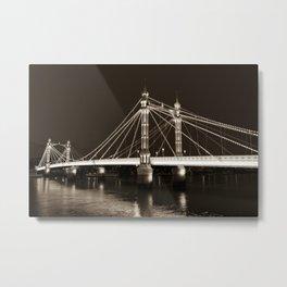 Albert Bridge London Sepia Toned Metal Print