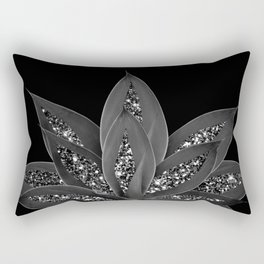 Gray Black Agave with Black Silver Glitter #2 #shiny #tropical #decor #art #society6 Rectangular Pillow