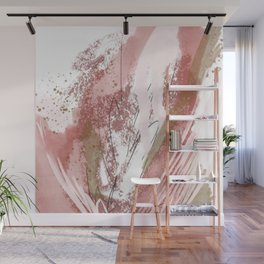 Sugar and Spice: a minimal, abstract mixed-media piece in pink and brown by Alyssa Hamilton Art Wall Mural